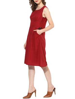 maroon cotton aline dress - 14894726 - Standard Image - 2