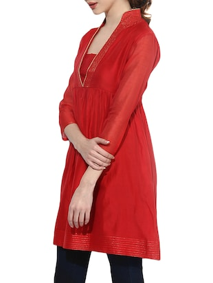 Bright red flared kurta - 14894744 - Standard Image - 2