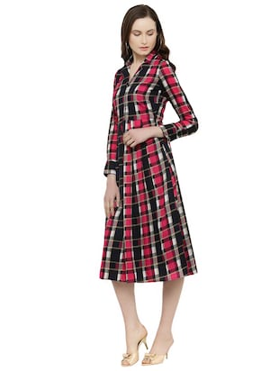 pink checkered fit & flare dress - 14895042 - Standard Image - 2