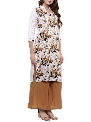white silk blend straight kurta - 14895061 - Standard Image - 2