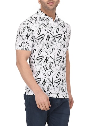 white cotton all over print tshirt - 14895202 - Standard Image - 2