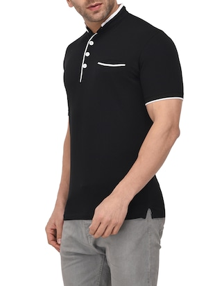 black cotton pocket t-shirt - 14895216 - Standard Image - 2