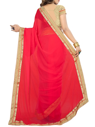 red georgette bordered saree with blouse - 14895219 - Standard Image - 2
