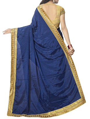 blue chiffon bordered saree with blouse - 14895229 - Standard Image - 2