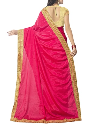 pink chiffon bordered saree with blouse - 14895230 - Standard Image - 2