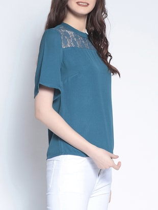 lace paneled short sleeved top - 14895286 - Standard Image - 2