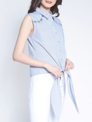 tie knot hem striped button up top - 14895288 - Standard Image - 2