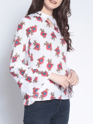layered bell sleeved floral top - 14895302 - Standard Image - 2