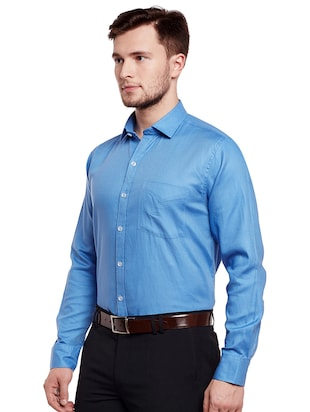 blue cotton formal shirt - 14895496 - Standard Image - 2