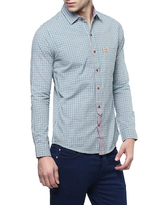 green cotton casual shirt - 14895760 - Standard Image - 2