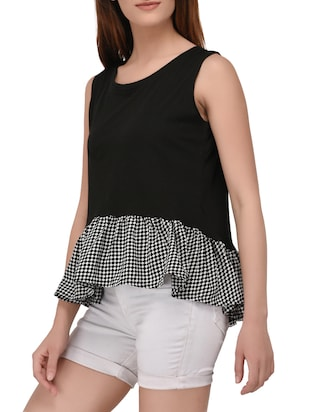black printed cotton top - 14895786 - Standard Image - 2