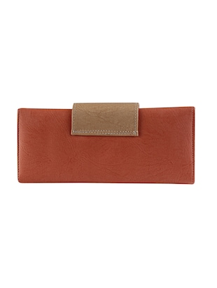 brown leatherette fold over clutch - 14895963 - Standard Image - 2