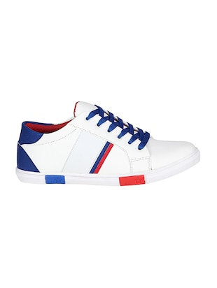 white leatherette lace up sneaker - 14896084 - Standard Image - 2
