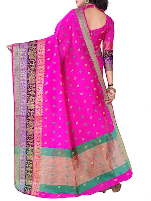 pink silk blend chanderi saree with blouse - 14896681 - Standard Image - 2