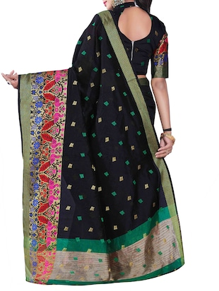 black silk blend chanderi saree with blouse - 14896704 - Standard Image - 2