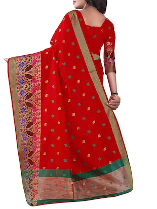red silk blend chanderi saree with blouse - 14896707 - Standard Image - 2