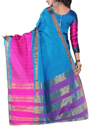 blue silk blend chanderi saree with blouse - 14896710 - Standard Image - 2