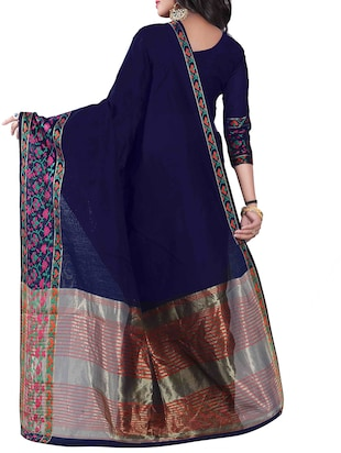blue silk blend chanderi saree with blouse - 14896716 - Standard Image - 2