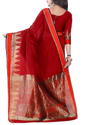 maroon silk blend chanderi saree with blouse - 14896718 - Standard Image - 2