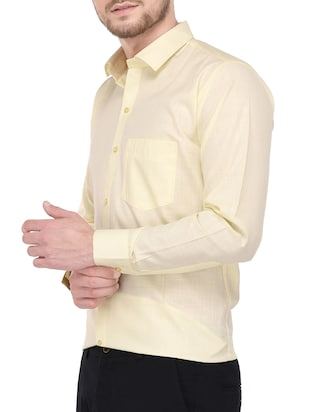 yellow cotton formal shirt - 14896728 - Standard Image - 2