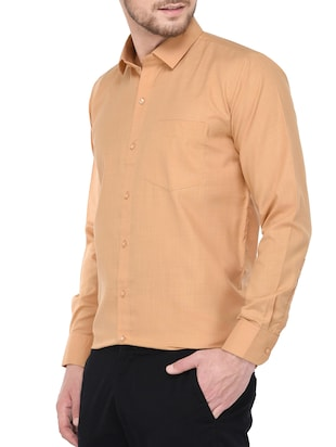orange cotton formal shirt - 14896731 - Standard Image - 2