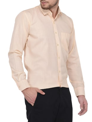 beige cotton formal shirt - 14896732 - Standard Image - 2