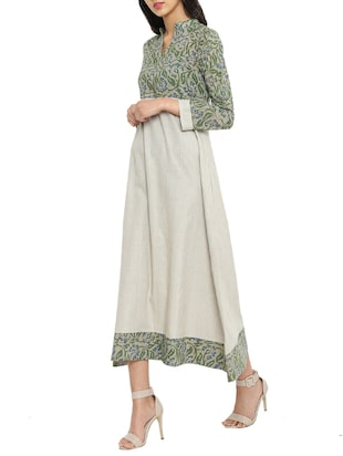green  printed a-line dress - 14897842 - Standard Image - 2