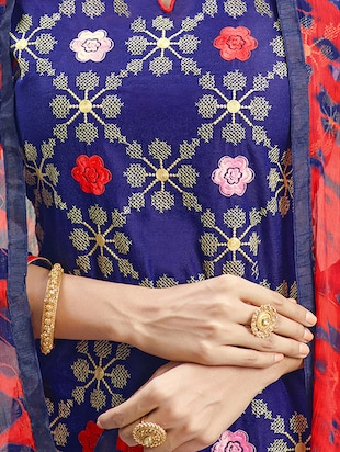 Embroidered churidaar suits unstitched suit - 14898042 - Standard Image - 2