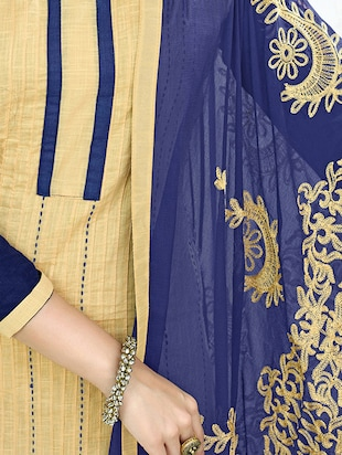 Embroidered unstitched churidaar suit - 14898073 - Standard Image - 2