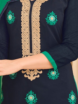 Embroidered unstitched churidaar suit - 14898145 - Standard Image - 2