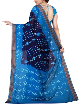 blue cotton bandhani saree with blouse - 14898420 - Standard Image - 2