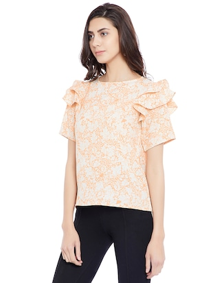 peach floral casual top - 14898429 - Standard Image - 2