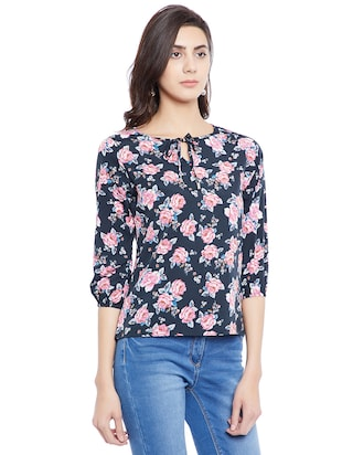 navy blue floral casual top - 14898432 - Standard Image - 2