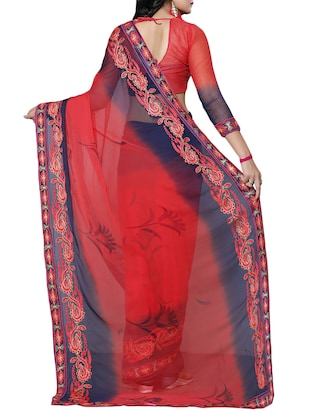 red chiffon embroidered saree with blouse - 14898829 - Standard Image - 2