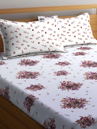 Cotton 160 TC Double Bedsheet With 2 Pillow Covers - 14898852 - Standard Image - 2