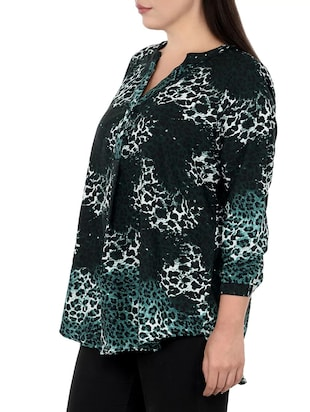 green printed plus tunic - 14898873 - Standard Image - 2