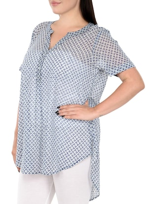 button detail high low plus tunic - 14898875 - Standard Image - 2