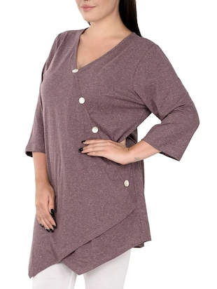 Purple solid plus tunic - 14898882 - Standard Image - 2