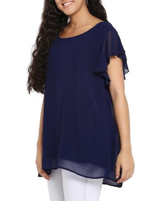 navy blue georgette plus tunic - 14898925 - Standard Image - 2