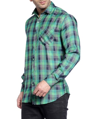 green cotton casual shirt - 14899918 - Standard Image - 2
