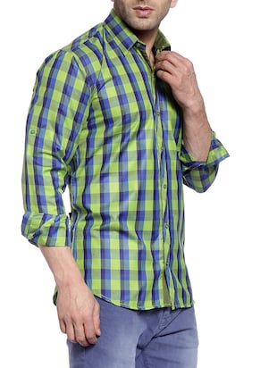 green cotton casual shirt - 14899937 - Standard Image - 2