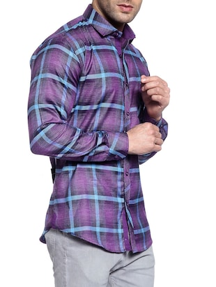 purple cotton casual shirt - 14899962 - Standard Image - 2