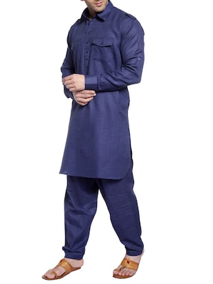 navy cotton pathani ethnic wear set - 14899966 - Standard Image - 2