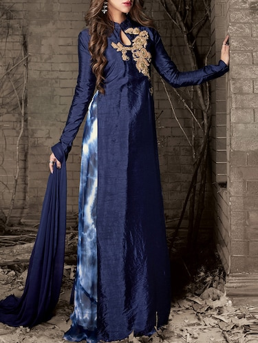 53718df1758 blue silk anarkali suits semistitched suit - 14900412 - Very Small Image - 1