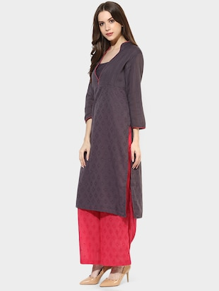 Indian Dobby grey cotton straight kurta - 14900610 - Standard Image - 2