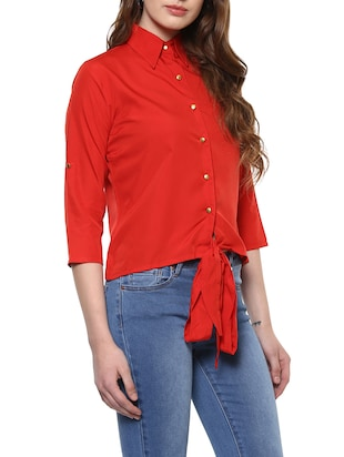 solid red front tie up shirt - 14900637 - Standard Image - 2