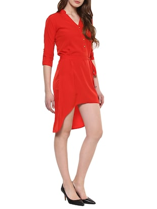red solid high low dress - 14900640 - Standard Image - 2