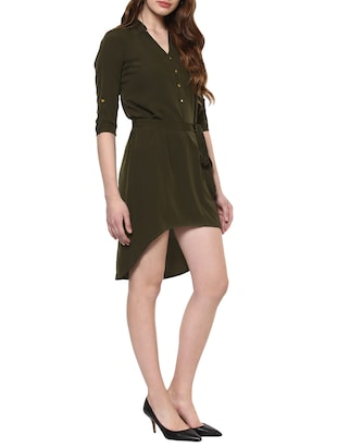 solid olive asymmetric dress - 14900644 - Standard Image - 2