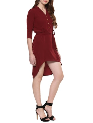 maroon solid high-low dress - 14900645 - Standard Image - 2