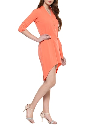 orange solid high-low dress - 14900647 - Standard Image - 2